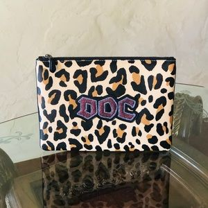 NWT Coach leopard animal print large clutch